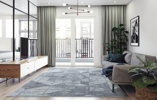 Outspread area rugs under furniture