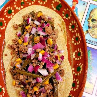 Salsa Verde Ground Beef Tacos W/ Corn & Nopales Recipe