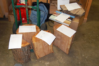 Photo: Some very nice cherry half logs showed up for the Silent Auction.