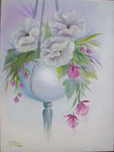 """Photo: 14.Hanging Pot of White Flowers with fuchsias. 18 x 24"""" oil on canvas. $299."""