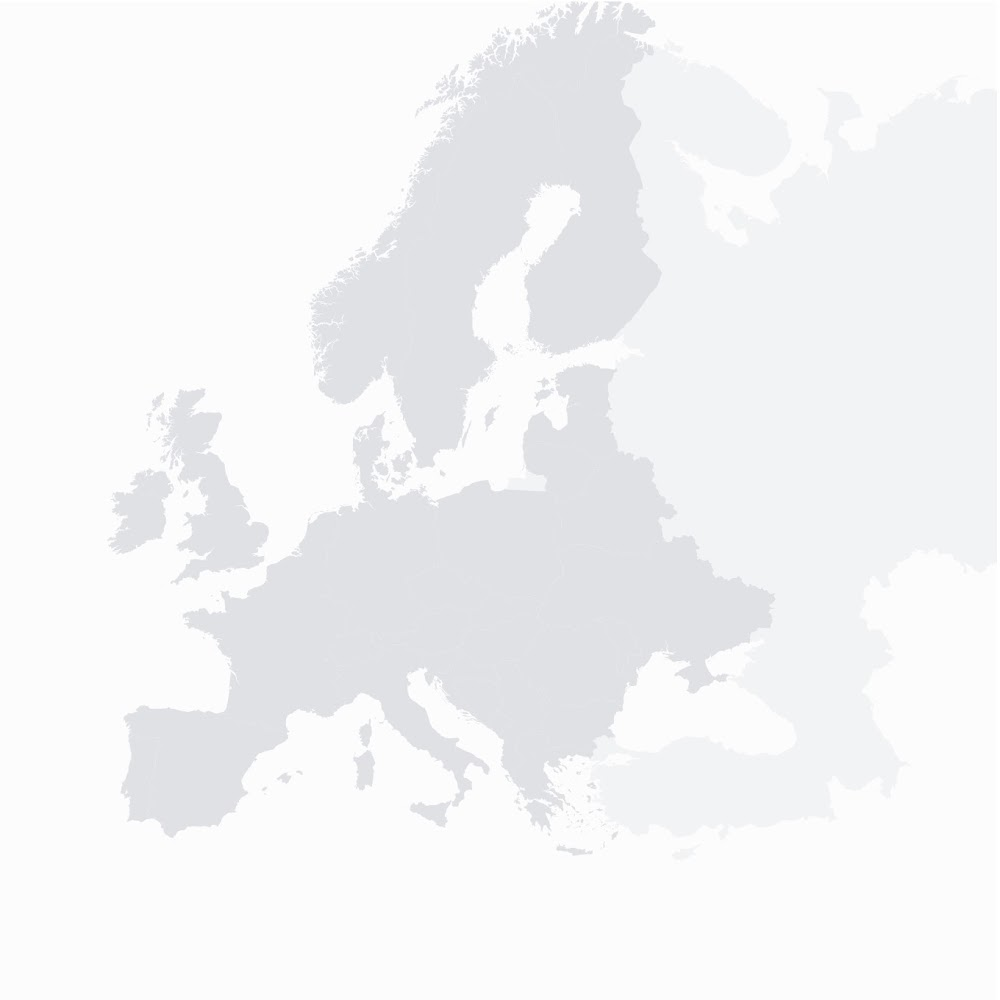 Map of Europe marking the eight windfarms