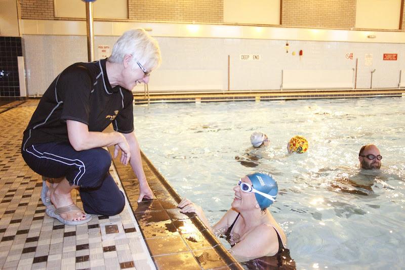 Photo: Instructor Dianne Kinder chatting to Deb Kirkham