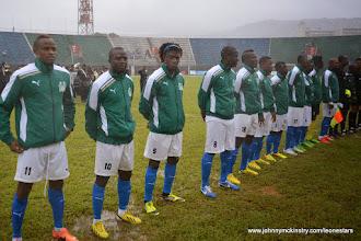 Photo: Leone Stars line up before game against Equatorial Guinea, 7 Sept 2013 (Pic: Darren McKinstry)