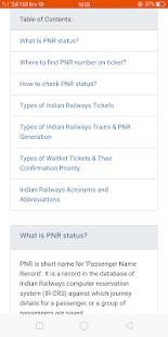 Train PNR status - náhled