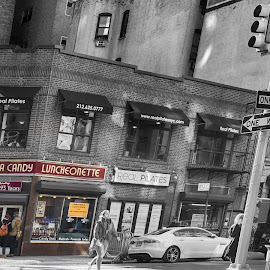 New York City Luncheonette  by Lorraine D.  Heaney - City,  Street & Park  Neighborhoods