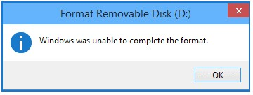 message windows was unable to complete the format