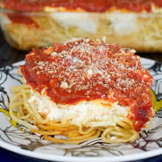 Cheesy, Creamy Spaghetti Casserole.