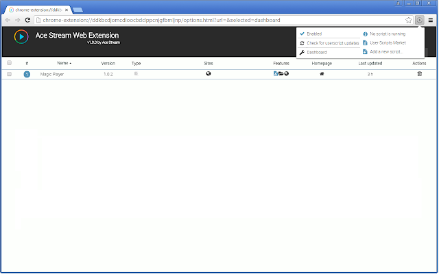 Ace Stream Web Extension chrome extension