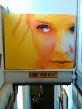 Photo: The portrait painting (that's in the Antique Album too), making it's own art over the 'Mind Your Head' sign.