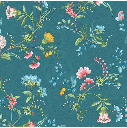Pip 2020 La Majorelle Tapet med blommor och skimmer - Mörkblå