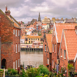Whitby Homes by Darrell Evans - Buildings & Architecture Homes ( sky, harbour, streerlight, yorkshire, whitby, harbor, clouds, house, water, building, outdoor, seaside, light, garden, brick )