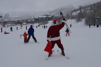 Photo: Then Santa headed down Homerun towards PayDay lift.