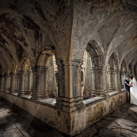 Abbey by Adrian O'Neill - Wedding Bride & Groom ( love, love couple, abbey, woman, man, ireland )