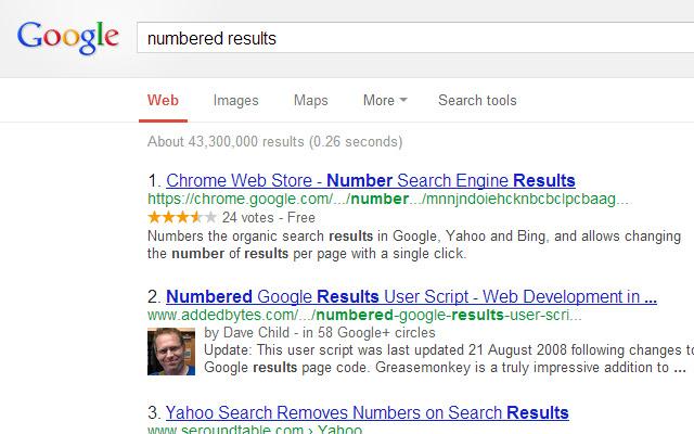 Number google search results