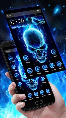 Download 3d Blue Flaming Skull Theme Launcher Apk Latest