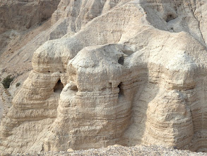 """Photo: The cave to the right of the center of this photo is where the original and largest collection of """"Dead Sea Scrolls"""" was found."""