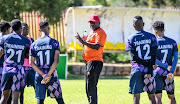 Dan Malesela (coach) Galaxy with his players in training during the TS Galaxy media open day at Panorama Sports Club on April 16, 2019 in Johannesburg, South Africa.