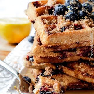 Easy Box Mix Lemon Blueberry Crumb Cake Waffles