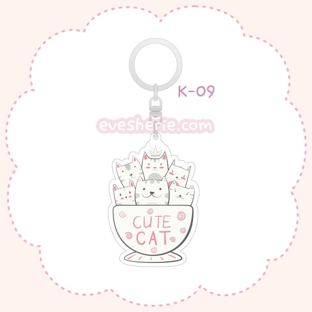 พวงกุญแจแมวน่ารักสีชมพู