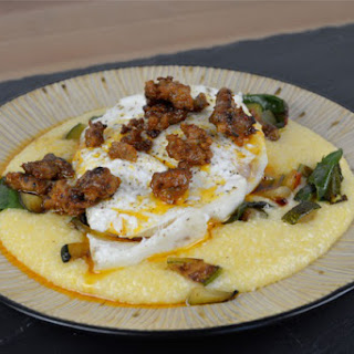 Baked Halibut with Chorizo Butter (and Cheesy Grits).
