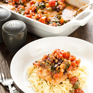 Baked Mahi Mahi with Tomatoes & Olives
