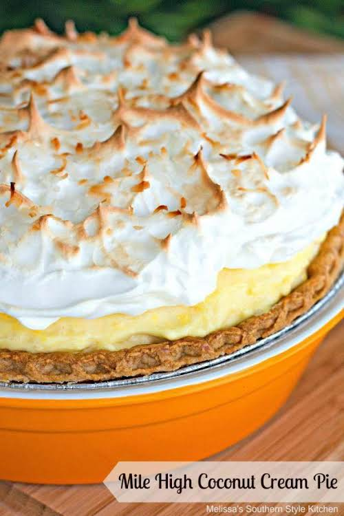 "Mile High Coconut Cream Pie ""This coconut cream pie is filled with..."