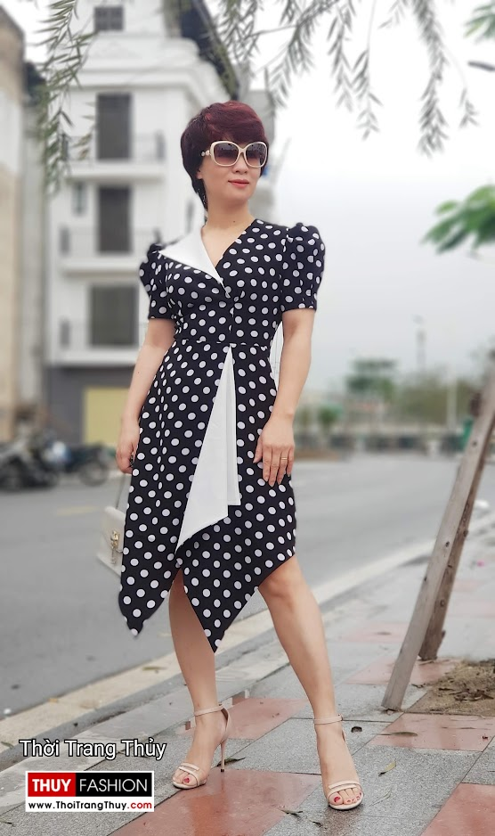 Váy xòe chấm bi công sở và dạo phố màu đen trắng V698 thời trang thủy sài gòn
