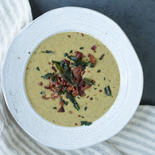 Mushroom Soup with Bacon and Fried Sage