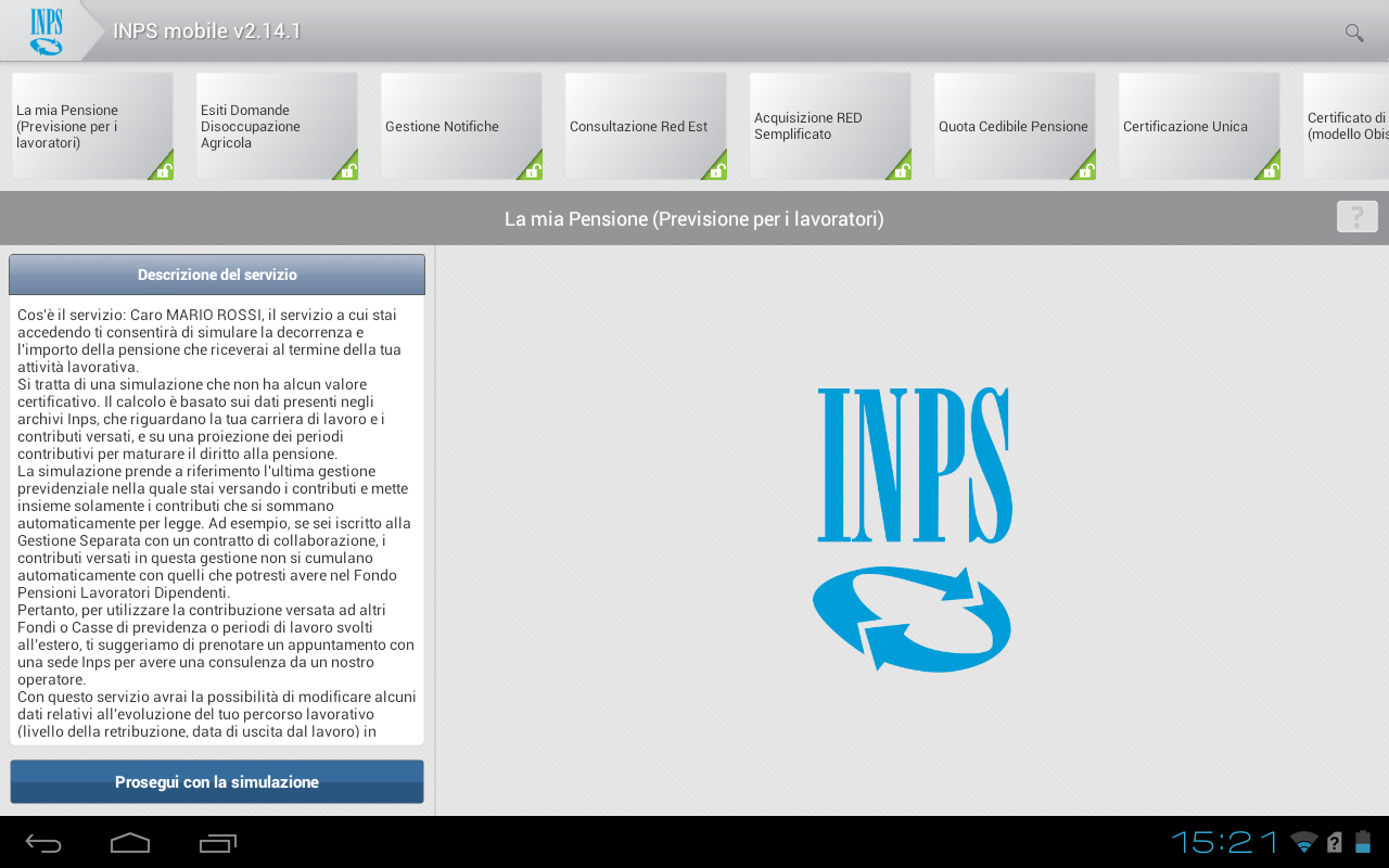 INPS mobile per Tablet- screenshot