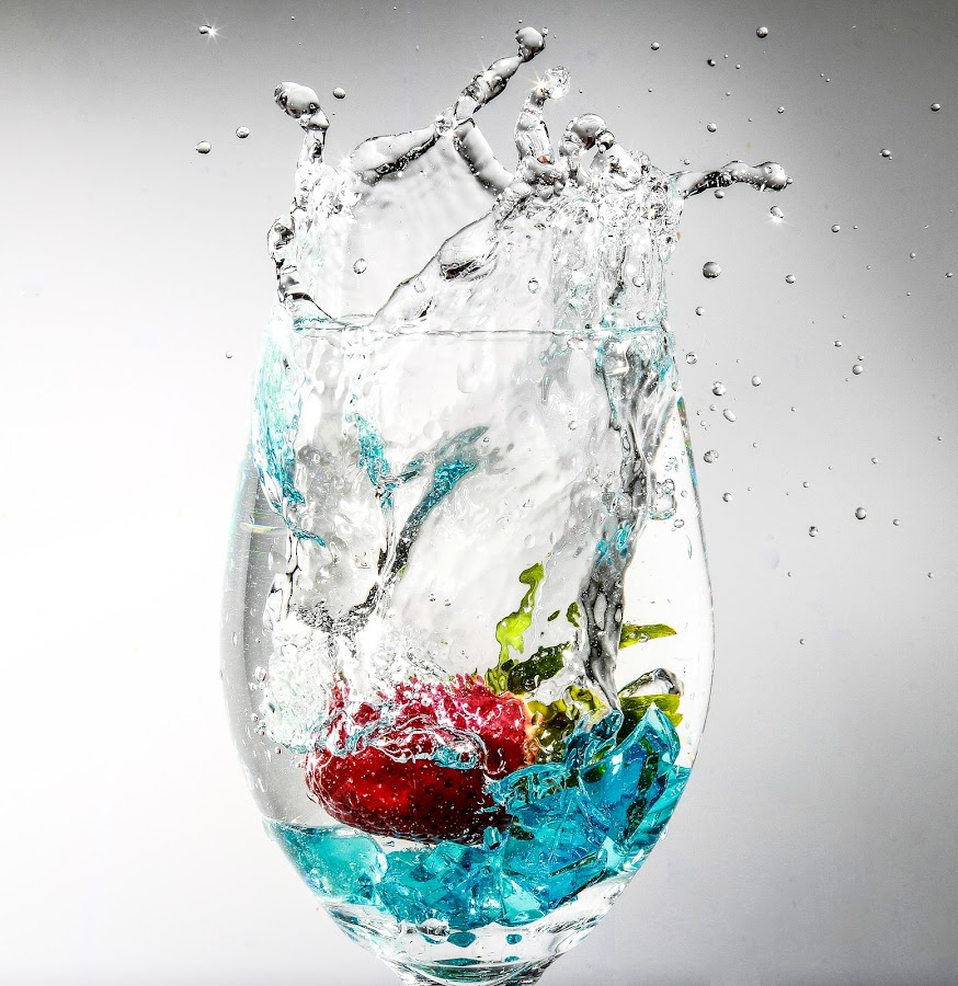 by Nauman Khan - Food & Drink Fruits & Vegetables ( water, splash, wine glass, bubbles, splash water photography, strawberry )