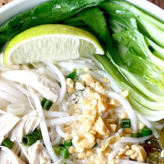 Thai Rice Noodle Soup with Chicken.