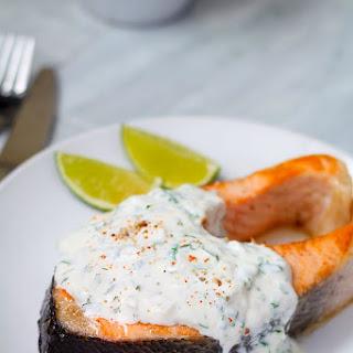 Grilled Salmon Steak with Cilantro Sauce Recipe
