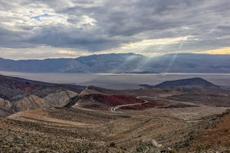 Photo: Sun rays over Panamint Valley, Death Valley National Park.