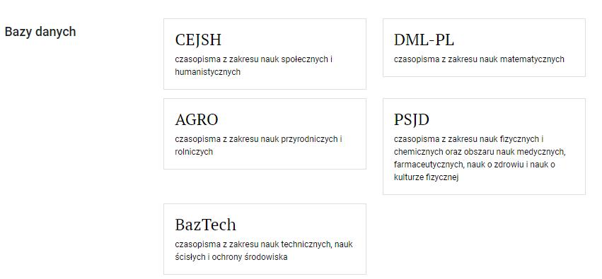 """Widok sekcji """"bazy danych"""" na stronie głównej Biblioteki Nauki. Bazy na liście to CEJSH, AGRO, BazTech, DML-PL i PSJD."""