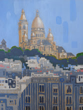 "Photo: Sacre Coeur, acrylic on wood, 8"" x 6"", © Nancy Roberts"