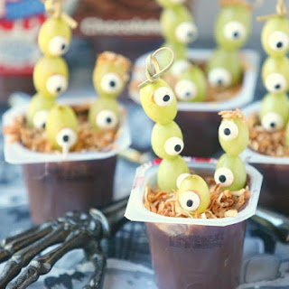 Healthy Halloween Grape Eyed Monster Pudding Cups