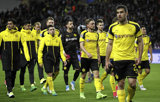 Borussia Dortmund players look dejected after losing their Champions League quarterfinal second-leg game to AS Monaco on April 19 2017, days after the Dortmund team bus was bombed. Picture: REUTERS