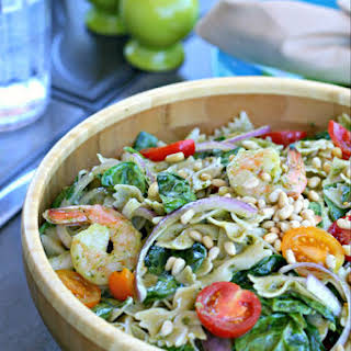 Gluten and Dairy Free Pesto Pasta Salad with Shrimp.