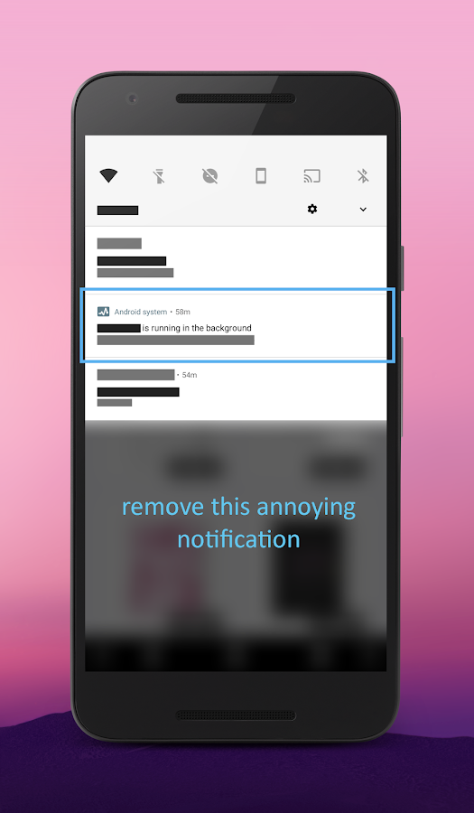 "Hide ""running in the background"" Notification- screenshot"