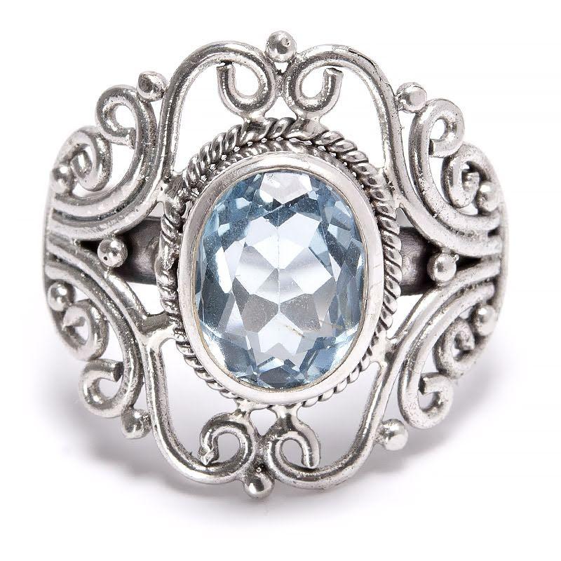 Blå topas Filigran silverring