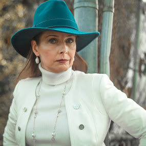 Teal Hat 2 by Malik Marcell - People Portraits of Women ( film, woman, teal, portrait, gate )
