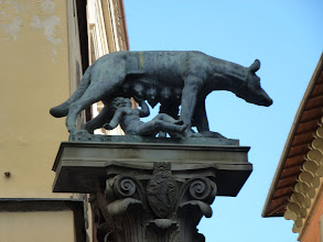 Photo: Two boys drinking milk from a wolf. It is an icon of the entire Siena region