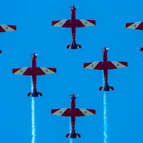 In Formation by Gary Tindale - Transportation Airplanes ( flight, sky, vapour, plane, trail, formation,  )