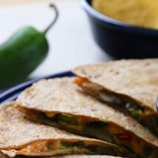 Mushroom and Bell Pepper Vegan Quesadillas.