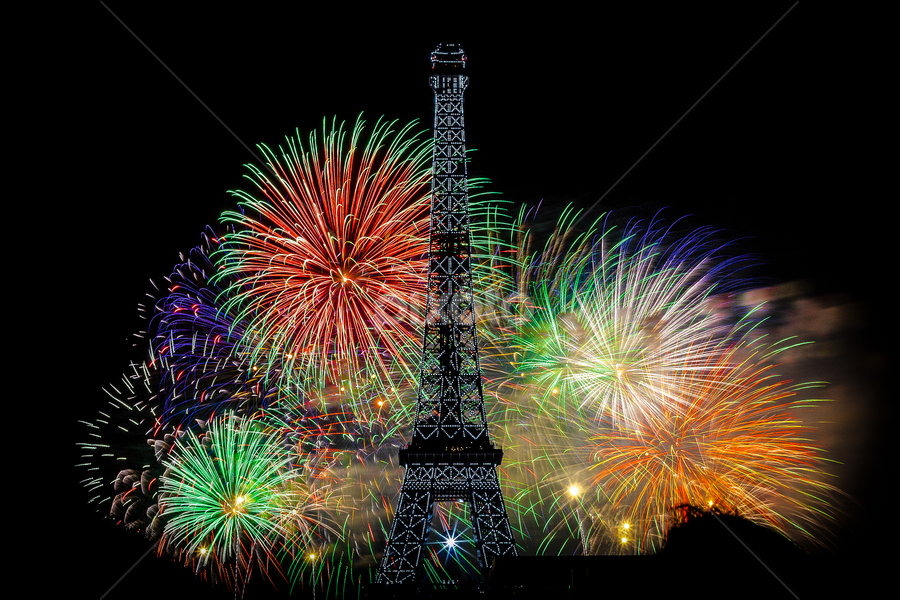Eiffel Tower Fireworks by Dimitri F - Abstract Fire & Fireworks ( exposure, paris, tower, pwcfireworks, fireworks, eiffel, night, long, painting, light, fire, works )