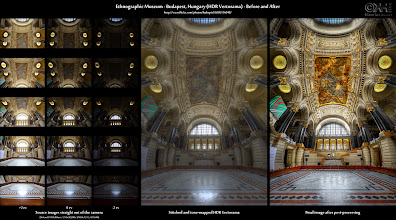 Photo: HDR Before-and-After: Ethnographic Museum – Budapest, Hungary (HDR Vertorama) (Expand this post to access tons of resources concerning this image!)  Finished photo: [ http://flic.kr/p/agNZeJ ]  About this Post This is the before-and-after comparison of the HDR vertorama I posted yesterday. The finished image (link given above) was created from 5x3 exposures taken handheld (no tripod allowed). Here, you see those source images, the (intermediate) tone-mapped and stitched image that came out of Photomatix and Photomerge, and finally, the finished image after post-processing.  If you want to produce such images too, take a look at my recipes listed in the resource section below. Have fun with your vertorama adventures, and don't forget to post the results for some feedback.  Have a great Sunday!  Resources 1. HDR Cookbook - Taking Interior HDR Vertorama Shots: [ http://wp.me/pZoHG-bG ] 2. HDR Cookbook - Taking HDR Vertorama Shots with a Tripod: [ http://wp.me/pZoHG-hP ] 3. HDR Cookbook – Creating HDR Panoramas and Vertoramas: [ http://wp.me/pZoHG-1l ] 4. Final image on G+: [ http://bit.ly/rmHVpk ] (see what other people think about it) 5. Flickr photo page: [ http://flic.kr/p/agNZeJ ] (lots more behind-the-scenes information) 6. Many more B&A comparisons: [ http://wp.me/pZoHG-oG ] (Want more of this? Take a look!) 7. Take my new HDR photography poll [ http://bit.ly/pXIabW ] 8. Join The G+ HDR List [ http://wp.me/pZoHG-pu ]