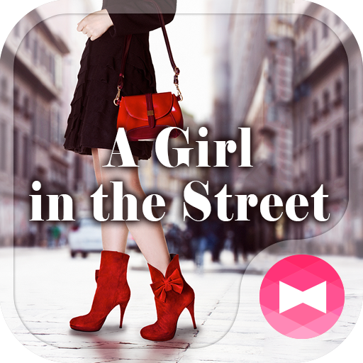 A girl in the street Theme Icon