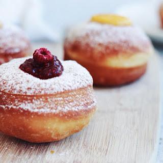 Brioche Doughnuts with Raspberry Jam + Vanilla Cream.