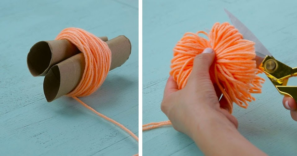 Wrap yarn around toilet paper rolls. The end result is a colorful, comfy rug for the home