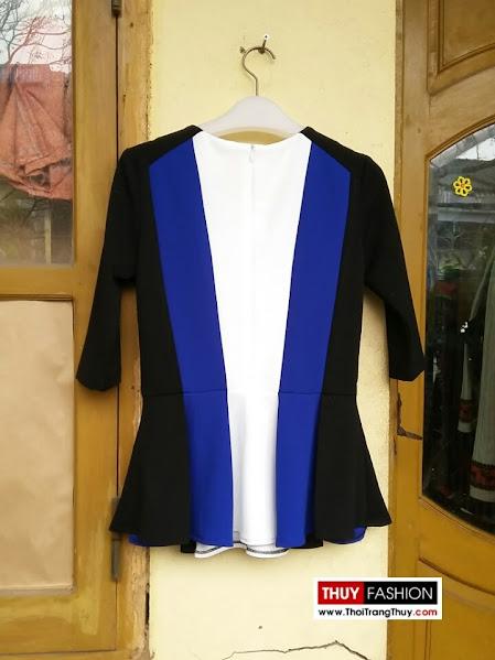 Áo peplum phối màu xanh trắng đen V169 thời trang thuỷ